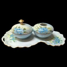 Limoges France Art Deco Design Dresser Tray with Hair Receiver & Covered Bowl
