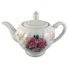 Vintage White Porcelain Teapot with Roses