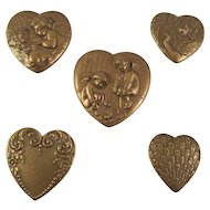 Vintage Gold/Bronze Tone Heart Shaped Art Nouveau Style Button Covers
