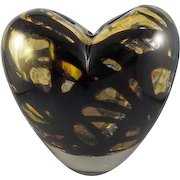 Murano Vintage Hand-Blown Art Glass Heart-Shaped Vase