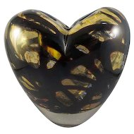 Murano Vintage Hand-Blown Art Glass Heart-Shaped Vase