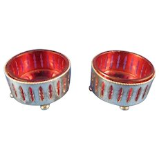 Two Vintage Silver Plate Salt Cellars with Cranberry Glass Inserts