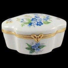 Limoges France Porcelain Powder/Dresser Box Violets and Butterflies