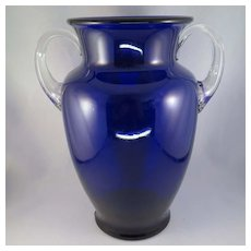 Vintage Cobalt Blue Glass Vase with Clear Applied Handles Large
