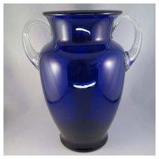 Vintage Cobalt Blue Glass Vase with Clear Applied Handles Large