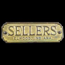 Original Sellers Brass Metal Furniture Tag