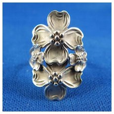 "VINTAGE Signed ""Beau Sterling"" Dogwood Blossom Ring Four Flowers Adjustable Size"
