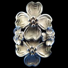 """VINTAGE Signed """"Beau Sterling"""" Dogwood Blossom Ring Four Flowers Adjustable Size"""