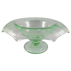 Depression Era Translucent Green Serving/Center Bowl with Wheel Cutting