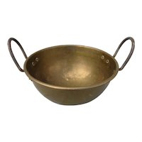 Antique Brass Cooling Pot Hand Made with Wrought Iron Loop Handles