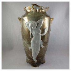Kronach Gorgeous German Art Nouveau Porcelain Urn w/ Nude Female Figure