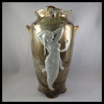 Kronach Gorgeous German Art Nouveau Porcelain Urn w/ Nude Female Figure