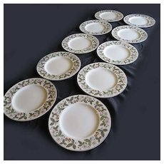 Vintage Wedgwood Bone China STRAWBERRY HILL 10 Dinner Plates #WD4269
