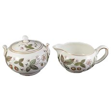 Vintage Wedgwood Bone China STRAWBERRY HILL Creamer & Sugar Bowl