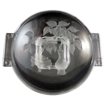 Vintage Candy Dish with Raised Frosted Floral Design