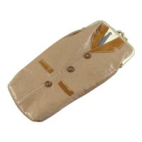 Vintage Leather Glasses Case with a Man's Coat & Tie Motif