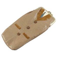 Vintage Leather Glasses Case with a Man's Coat & Tie Motif