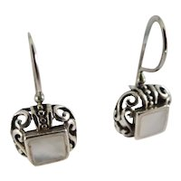 Sterling Silver Earrings with Mother of Pearl Stones ATZ 925