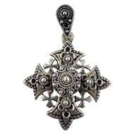 Jerusalem Maltese Coptic Cross Pendant Silver 900