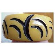 Vintage Carved Resin-Wash Bakelite Bangle - Crescent Moon Design