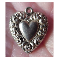 Antique Sterling Silver Puffy Heart Charm with Flower Border