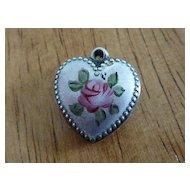 Sweet Vintage Pink Enameled Rose Sterling Puffy Heart Charm