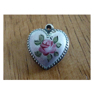 Sweet Vintage Pink Enameled Rose Sterling Puffy Heart Charm