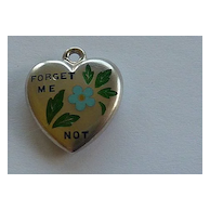 "Antique Enameled Sterling Puffy Heart ""Forget Me Not"" Flower"