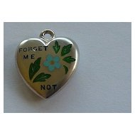 """Antique Enameled Sterling Puffy Heart """"Forget Me Not"""" Flower"""