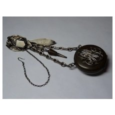 Victorian Mourning Angel Watch Chatelaine in Silver and Gutta Percha
