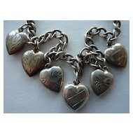 Vintage Sterling Puffy Heart Bracelet with Chased Designs