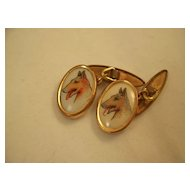 Pair of vintage cufflinks - English - Dogs