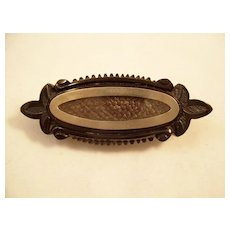 Unusual Victorian Mourning Brooch - Jet and Hairwork