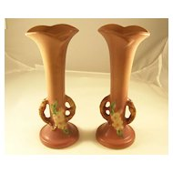 Lovely Pair of Roseville Art Pottery Apple Blossom Bud Vases