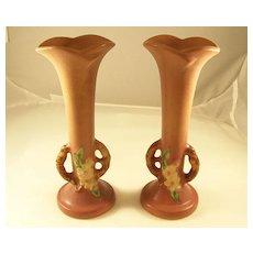 Lovely Pair of Roseville Art Pottery Apple Blossom Bud Vases