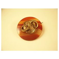 Unusual Scottish Banded Agate Circular Brooch with Snake Serpent Motif
