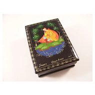Miniature Hand Painted Russian Lacquer Box - Fairytale