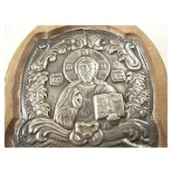 Vintage Greek Orthodox Silver Icon - Christ, 950 Silver