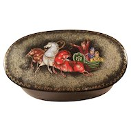 Russian Lacquer Oval Fairytale Box - Horses