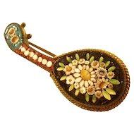Charming  late Victorian Micro Mosaic Brooch - Mandolin