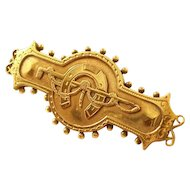 Victorian Bar Brooch - Horseshoe and Riding Crop - 9 ct. gold, 1887