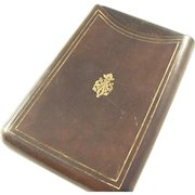 Handsome Vintage Leather Cigar Case with Embossed Fleur di Lis