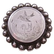 Victorian Sterling Silver Aesthetic Brooch - Bird and Swan