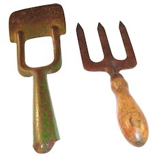 Pair of Vintage English Gardening Tools - Spade & Trowel