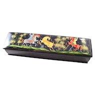Russian Black Lacquer Fairy Tale Box - Golden Stag pencil box