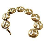 Sweet vintage gold-filled over sterling silver floral bracelet