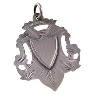 Sterling Silver Shield Watch Fob - English, hallmarked 1911