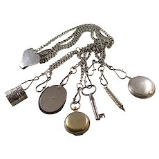 Wonderful Antique Chatelaine - six implements, several Sterling Silver