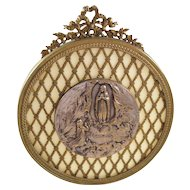 Catholic Our Lady of Lourdes Souvenir Plaque - lovely, early 20th century