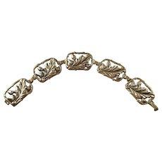 "Lovely Vintage Sterling Silver Acorn themed bracelet - 5"""